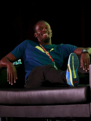 Usain Bolt; coletiva; pequim (Foto: Reuters)