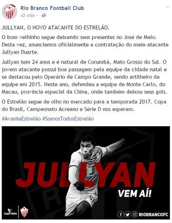 Jullyan Duarte é novo atacante do Rio Branco-AC (Foto: Reprodução/Facebook Rio Branco Football Club)
