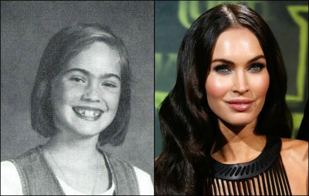De menina sorridente na foto da escola a musa sexy dos 'Transformers': eis Megan Fox, hoje com 28 anos. (Foto: Acervo Pessoal e Getty Images)