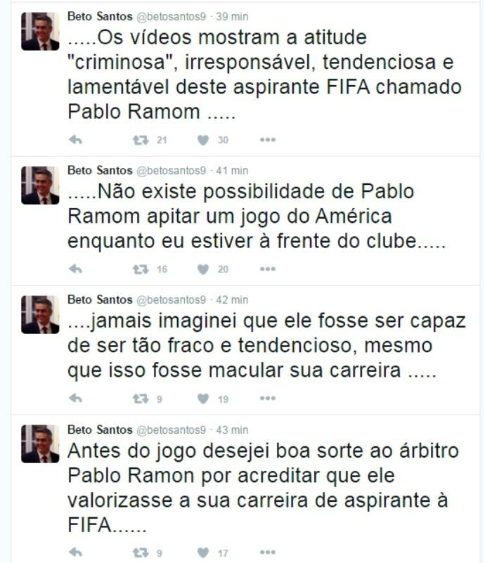 RN - PRINT Beto Santos Presidente do América-RN Clássico Rei (Foto: Reprodução/Twitter)