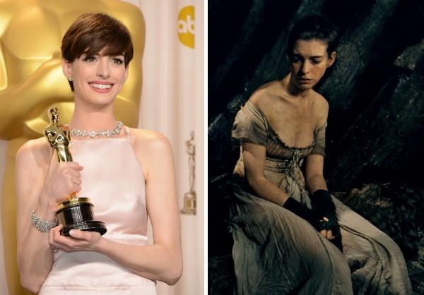 A atriz Anne Hathaway com seu Oscar e no papel de Fantine (Foto: Getty Images/Reprodução)