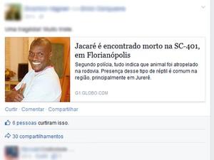 """""""Brincadeira"""" circulou pelas redes sociais. (Foto: Reprodução /Facebook)"""