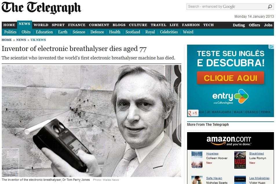 Tom Parry Jones, inventor do bafômetro, morre aos 77 anos (Foto: The Telegraph/Reprodução)