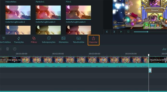 Clique em Exportar para começar o processo (Foto: Reprodução)