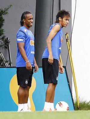 Arouca e Neymar em treino do Santos (Foto: Ricardo Saibun/Divulgação Santos FC)