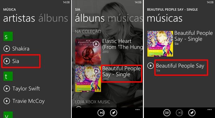 Escolha o artista, álbum e música que deseja enviar no seu Nokia Lumia (Foto: Reprodução/Elson de Souza)