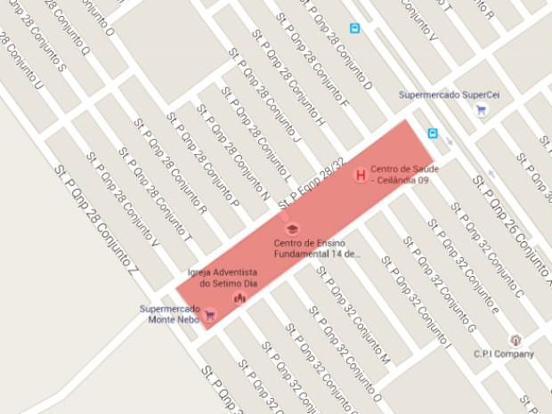 Região entre as quadras 28 e 32 do P Sul, em Ceilândia (DF); medicamentos foram jogados em lixão próximo a centro de saúde (Foto: Google/Reprodução)