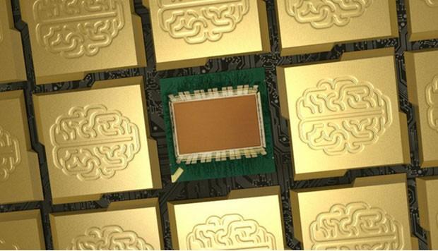 Imagem conceitual mostra processador da IBM que imita o cérebro humano (Foto: Divulgação/IBM Research)