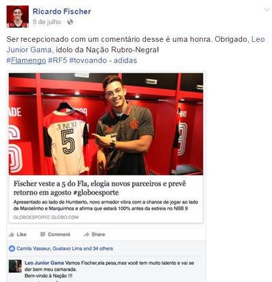 Júnior deu as boas-vindas a Fischer pelas redes sociais (Foto: Reprodução/Facebook)