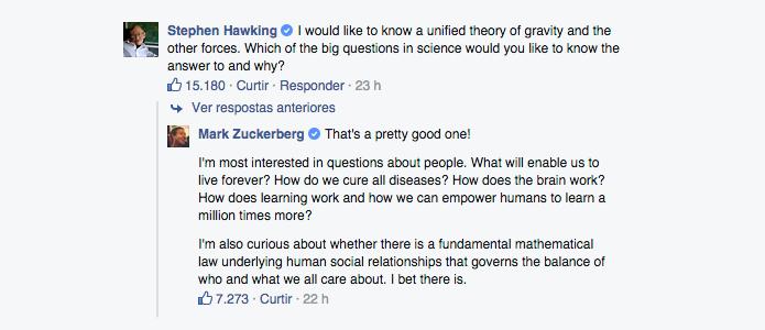 Hawking iniciou com uma pergunta difícil, que obteve uma resposta interessante de Zuckerberg (Foto: Reprodução/Paulo Alves)
