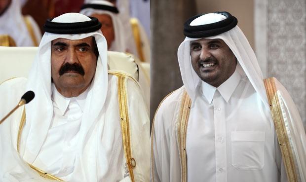 O emir do Qatar, Hamad bin Khalifa al-Thani, e seu filho, xeque Tamim bin Hamad al-Thani, em 26 de março de 2013 na abertura da cúpula da Liga Árabe, em Doha (Foto: AFP)
