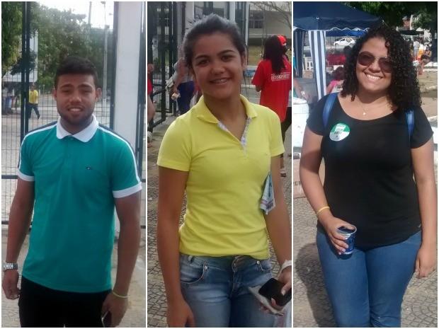 Bruno, Laura e Jessiane saíram do campus da Uece logo após a abertura dos portões (Foto: Elias Bruno / G1)