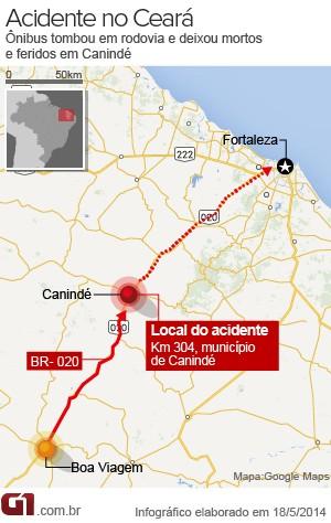 Ônibus tomba em rodovia e deixa mortos e feridos no Ceará  (Foto: Arte/G1.com)