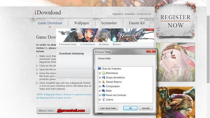 Execute o arquivo baixado e selecione um local onde o pacote de instalação do jogo será transferido (Foto: Reprodução/Daniel Ribeiro)