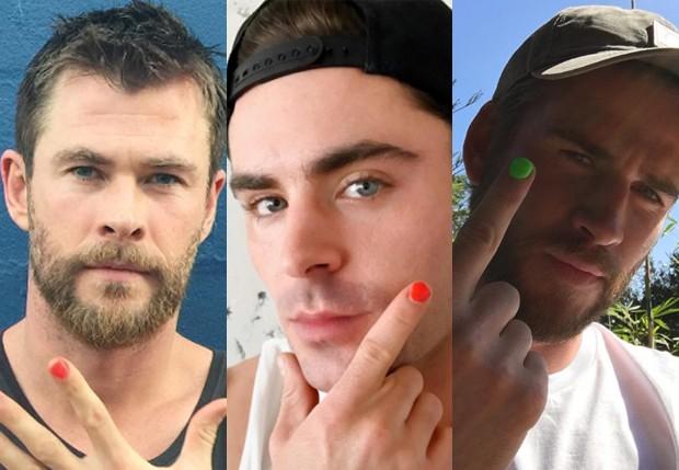 Chris Hemsworth, Zac Efron e Liam Hemsworth (Foto: Reprodução/Instagram)