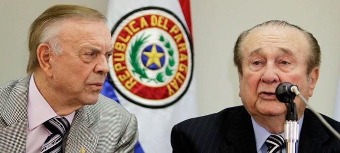 Nicolás Leoz, presidente da Conmebol ao lado de José Maria Marin presidente da CBF (Foto: Agência Reuters)