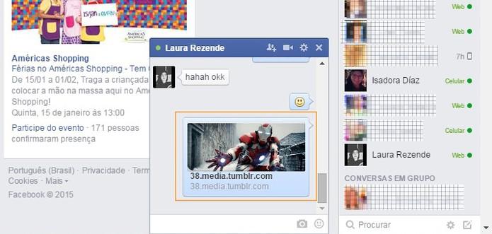 Envie o GIF no chat com seu amigo do Facebook apertando a tecla Enter (Foto: Reprodução/Barbara Mannara)