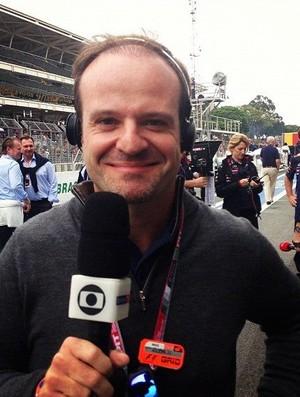 Rubens Barrichello durante a transmissão do GP do Brasil de Fórmula 1 2012 (Foto: Reprodução)