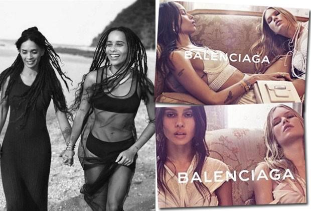 À esquerda: Zöe posa com a mãe para a Calvin Klein. À direira: na campanha da Balenciaga com a top Anna Ewers (Foto: Reprodução/Instagram)