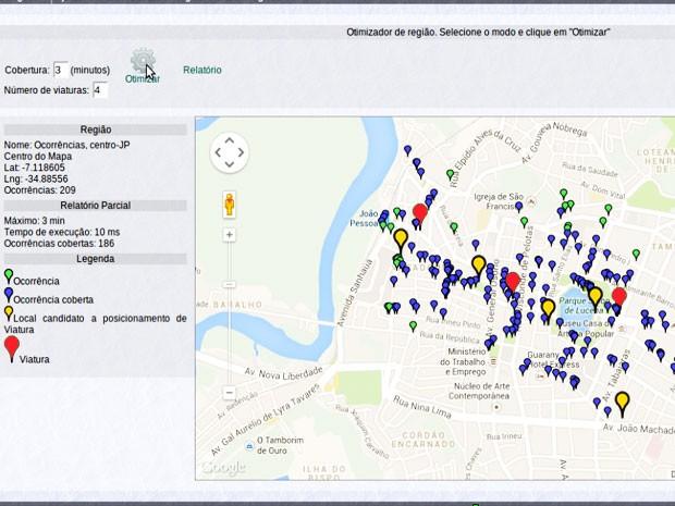 Software busca o posicionamento otimizado de guarnições da Polícia Militar. (Foto: Valtânia Ferreira/Reprodução)