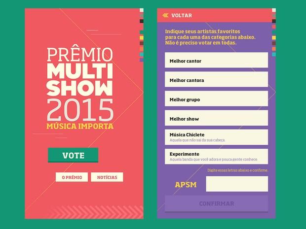 prmio multishow 2015 aplicativo (Foto: Multishow)