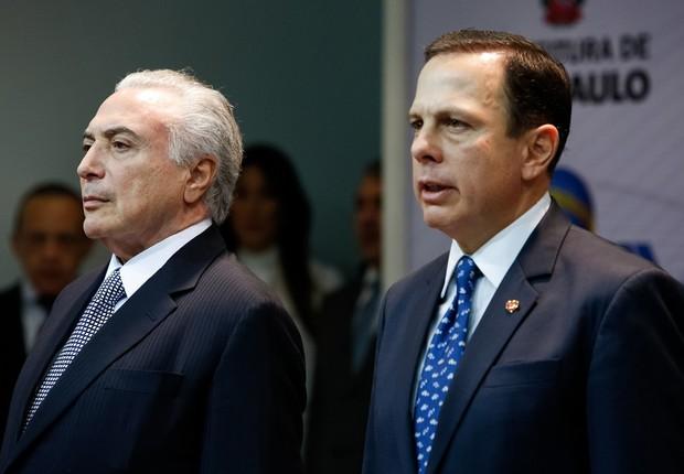 O presidente Michel Temer e o prefeito de São Paulo João Doria participam de evento para celebrar a cessão do Campo de Marte (Foto: Alan Santos/PR)