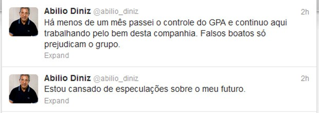 Desabafo de Abilio Diniz no Twitter (Foto: Reprodução/Twitter)