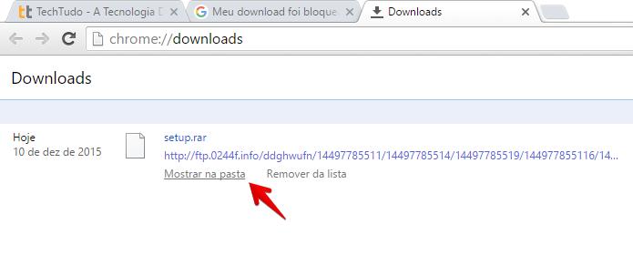 Localizando arquivo na pasta de downloads (Foto: Reprodução/Helito Bijora)