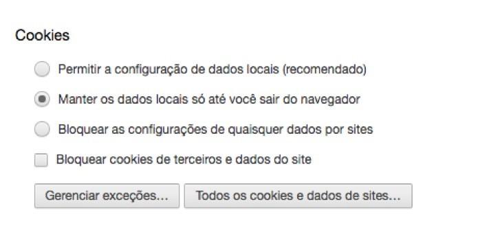 Opções de Cookie (Foto: Reprodução/André Sugai)