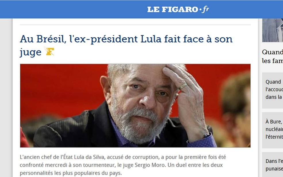 """""""Le Figaro"""" tratou o caso como o duelo entre as duas figuras mais populares do país (Foto: Reprodução / Le Figaro)"""