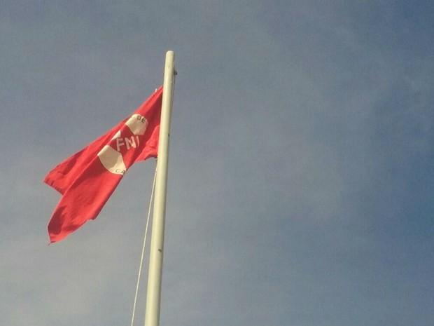 Manifestantes hasteiam símbolo da FNL na Alameda das Bandeiras (Foto: Mateus Rodrigues/G1)