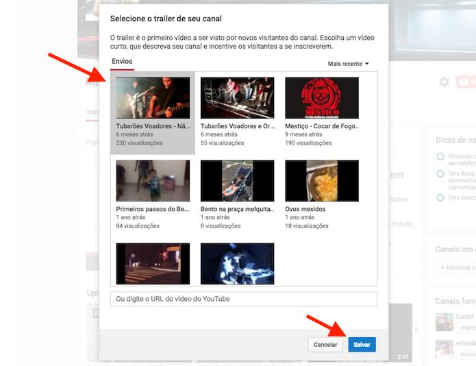 Escolhendo um vídeo para ser o trailer de um canal do YouTube (Foto: Reprodução/Marvin Costa)