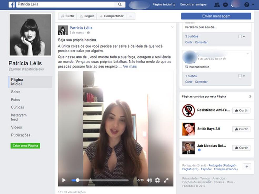Em página atribuida a Patrícia no Facebook, ela aparece num vídeo defendendo o feminismo (Foto: Reprodução/Facebook)