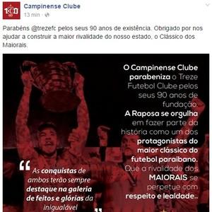 Campinense parabeniza o Treze (Foto: Reprodução / Facebook)