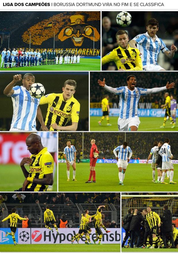 Mosaico Borussia Dortmund x Málaga (Foto: Editoria de Arte)