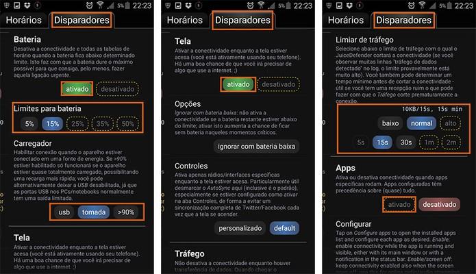 Na tela de disparadores o usuário pode estipular ações inteligentes para economizar bateria (Foto: Reprodução/Barbara Mannara)