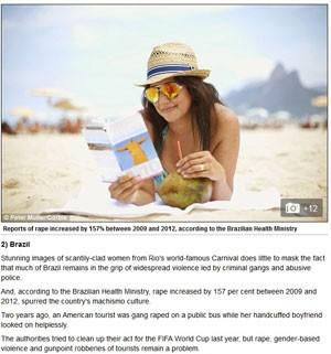 Reportagem do 'Daily Mail' incluiu o Brasil entre os 10 lugares mais perigosos para mulhers viajarem (Foto: Reprodução/Daily Mail)