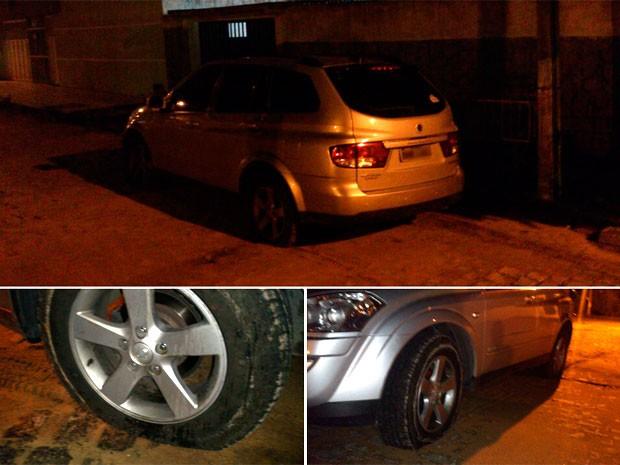 Após rodar dois quilômetros com pneus furados, veículo foi abandonado e motorista fugiu a pé (Foto: Divulgação/Polícia Militar do RN)
