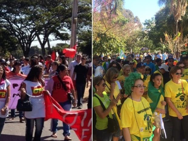 Manifestantes fazem ato contra Temer, pela manhã, e contra Dilma, a tarde, em Goiânia (Foto: Vitor Santana/G1 e Sílvio Túlio/G1)