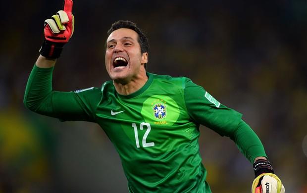 julio cesar brasil penalti espanha copa das confederações (Foto: Agência Getty Images)