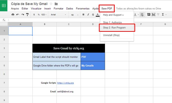 Ative o script para que você possa salvar uma cópia do seu e-mail do Gmail no Google Drive (Foto: Reprodução/Elson de Souza)
