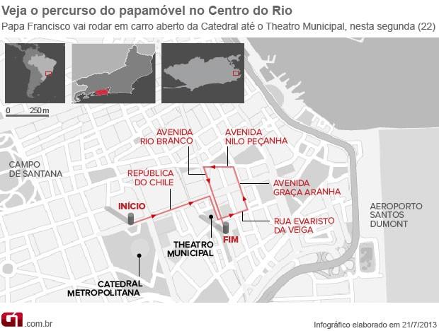 Arte mapa trajeto papamóvel papa centro do Rio (Foto: Editoria de Arte/G1)