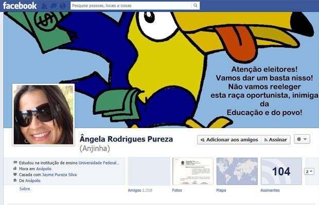 Juiz manda professora retirar post no Facebook contra vereadores em Anápolis, Goiás (Foto: Reprodução/Facebook)