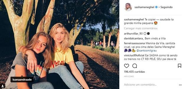 Sasha Meneghel e Luana Andrade, filha de Junno Andrade, filha de Junno Andrade (Foto: Reprodução/Instagram)