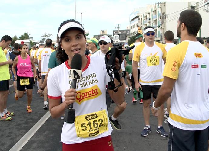 Lorena Fafá no início da corrida entre Vitória e Vila Velha (Foto: Divulgação/TV Gazeta)