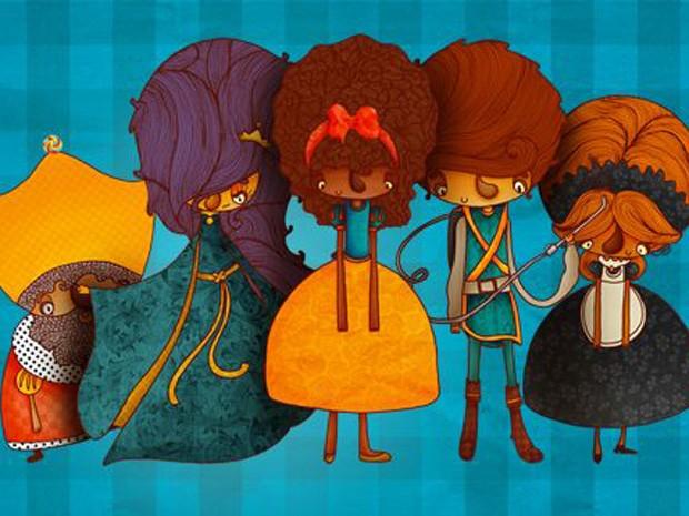 Personagens de 'Uma história mais ou menos parecida', que fala sobre as aventuras da princesa Pérola Negra (Foto: Arquivo Pessoal/Juliana Fiorese)