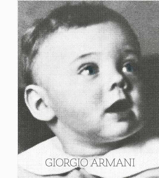 A versão baby de Giorgio Armani virou capa do livro em celebração à carreira do estilista (Foto: Reprodução)
