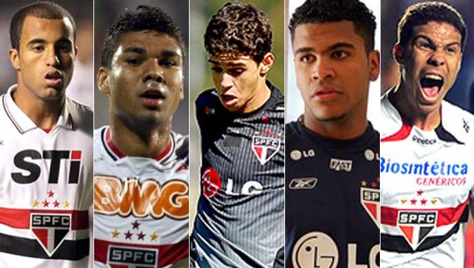 Montagem Lucas, Casemiro, Oscar, Breno e Hernanes, São Paulo (Foto: Editoria de Arte)