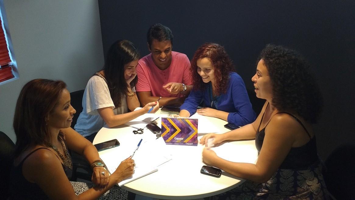 Mira Silva, Luiza Silveira, Pablo Vasconcelos, Michelle Guimarães e Andrea Bonfim: a produção do 'Aprovado' (Foto: Divulgação)