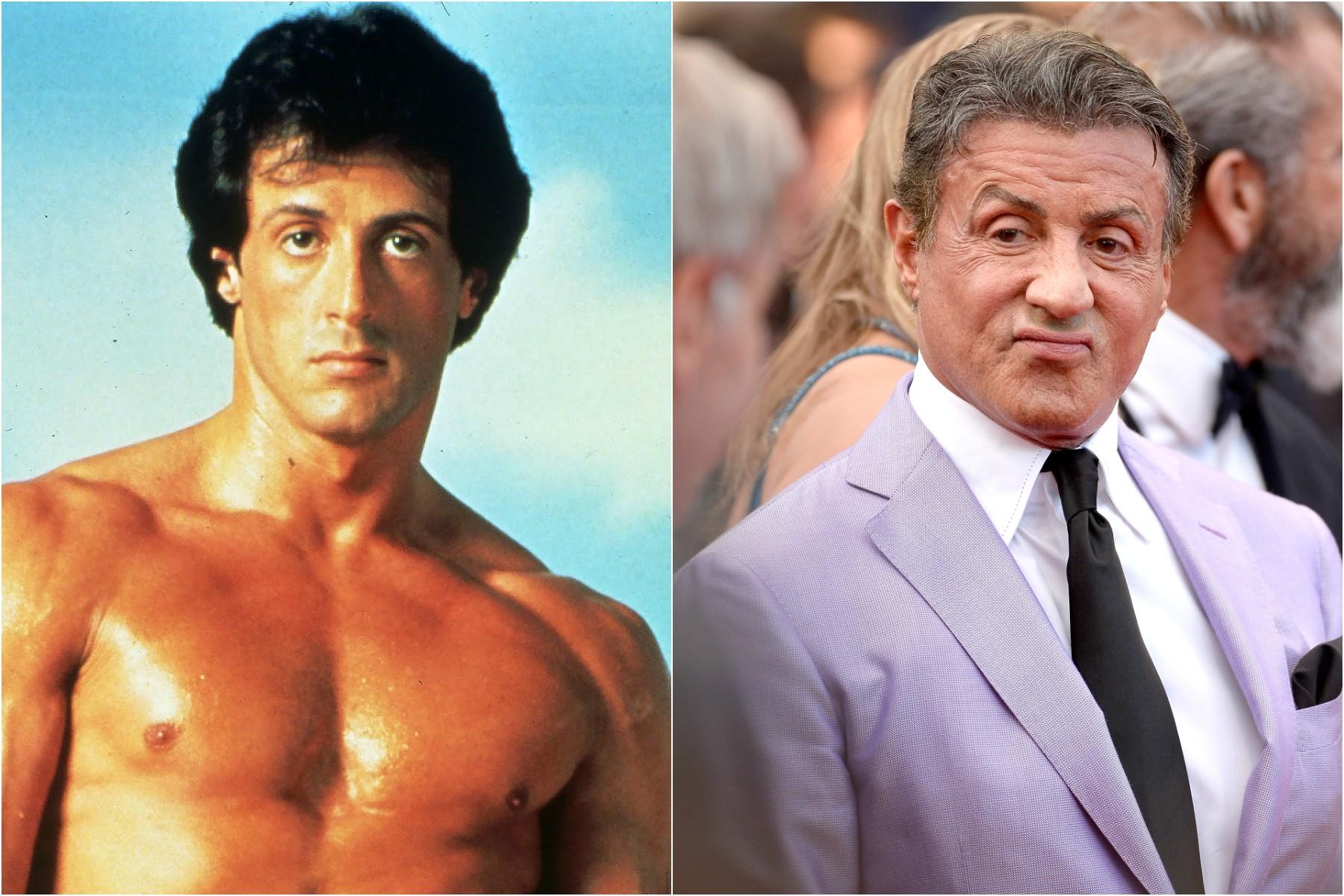 Sylvester Stallone em 1982 e em 2014. (Foto: Reprodução e Getty Images)